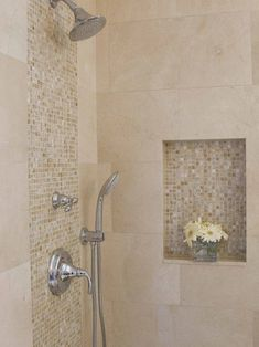 Awesome Shower Tile Ideas Make Perfect Bathroom Designs Always : Minimalist Bathroom Metalic Head Shower Small Flower Vase Shower Tile
