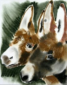 Two Donkeys ~ artist unknown Burritos, Farm Animals, Cute Animals, Stone Cactus, Miniature Donkey, The Donkey, Horse Art, Zebras, My Animal