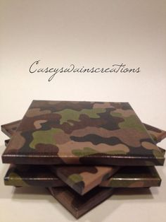 Set of Four Camo Tile Coasters. by CaseySwainsCreations on Etsy, $12.00