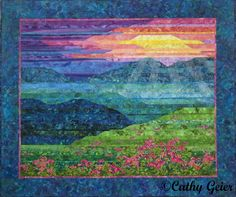 """""""Blue Ridge Mountain Sunset"""" by Cathy Geier on her Quilty Art Blog;  she shares how she made this quilt"""