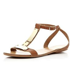 Brown metal T bar sandals - sandals - shoes / boots - women