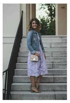 Pretty purple midi dress made casual with a denim jacket...lovely choice ❤