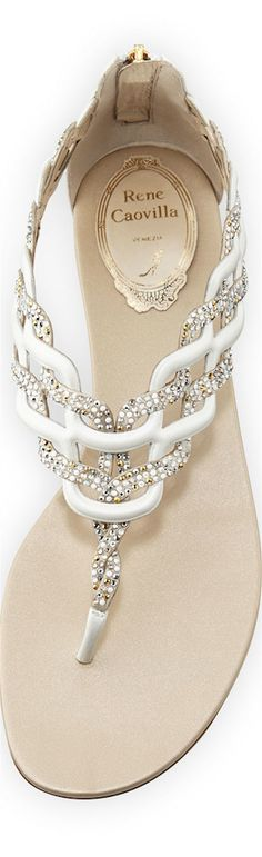 Rene Caovilla ~ White Leather + Crystal Braided Sandal