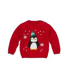 Favoriete kinder kerstkleding van blogger Foodinista. Baby kersttrui met pinguin voor een klein prijs. Kijk voor info op de blog.