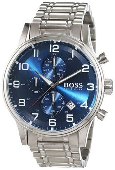 Shop for Hugo Boss Men's 1513183 'Aeroliner' Chronograph Stainless Steel Watch. Get free delivery On EVERYTHING* Overstock - Your Online Watches Store! Hugo Boss Watches, Army Watches, Cool Watches, Rolex Watches, Watches For Men, Hugo Boss Homme, Hugo By Hugo Boss, Stainless Steel Watch, Stainless Steel Bracelet