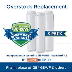 GE GSWF SmartWater Comparable Refrigerator Water Filter 3 Pack