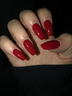 In seek out some nail designs and ideas for your nails? Listed here is our list of 40 must-try coffin acrylic nails for fashionable women. Red Acrylic Nails, Acrylic Nail Designs, Red Gel Nails, Acrylic Gel, Deep Red Nails, Pink Nail, Prom Nails, Long Nails, Short Nails