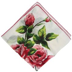 a real hanky-i always carry a linen one, it is so much more lady-like than a paper tissue. this si a sweet one with pink flowers printed on it