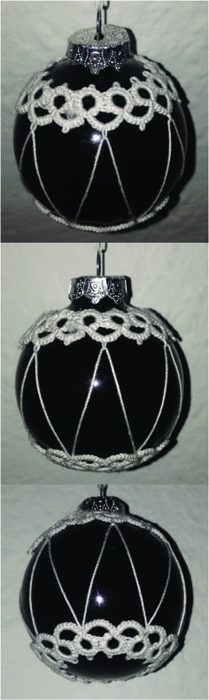 A DIY twist to the classic christmas tree decoration - a little tatting on a glass ball :)