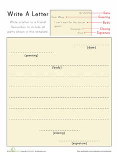 Worksheets: Write A Letter