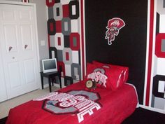 Ohio state rooms on pinterest ohio state buckeyes ohio state university and ohio state football for Ohio state bedroom paint ideas