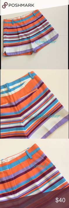 """J Crew Striped Basketweave Shorts NWT Gorgeous turquoise, orange, plum and lavender colored stripes. Beautiful Basketweave fabric. J Crew design & tailoring. Perfect! Belt loops. Front diagonal pockets. Two back pockets. Pictured top is listed separately in my closet. Measurements: WAIST 30""""; hip 38""""; rise 10""""; inseam 4.5"""" Fabric: 100% cotton. Machine wash  Condition: NWT Bundle discount Offers welcome  Smoke free home J. Crew Shorts"""