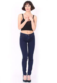Blugi Pull and Bear Simple Dark Blue Dark Blue, Skinny Jeans, Bear, Simple, Pants, Fashion, Trouser Pants, Moda, Deep Blue