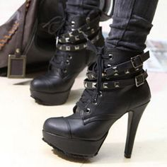 Studded High Heels Ankle Boots