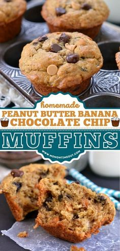 Your new favorite on-the-go muffins! Not only are they moist and dense like banana bread, but they are also flavored with peanut butter and studded with chocolate chips. Give this back to school… Homemade Peanut Butter, Peanut Butter Recipes, Peanut Butter Banana, Banana Chocolate Chip Muffins, Banana Bread, Chocolate Chips, Muffin Recipes, Breakfast Recipes, Food To Make