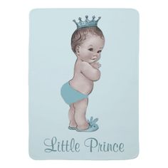Cute Vintage Prince Baby Blue Swaddle Blankets