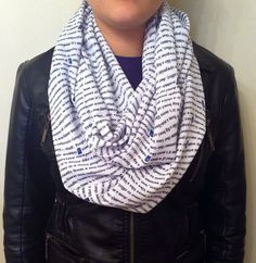 Sale - Doctor Who Inspired Infinity Scarf Wibbly Wobbly Timey Wimey, Black on White