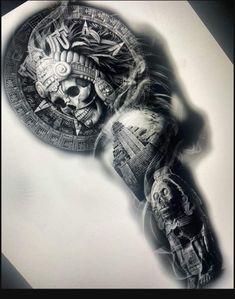 Aztec Tattoos Sleeve, Half Sleeve Tattoos Drawings, Egyptian Tattoo Sleeve, Tattoo Design Drawings, Body Art Tattoos, Dr Tattoo, Norse Tattoo, Aztec Tattoo Designs, Tattoo Sleeve Designs