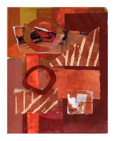 Joan Gillman Smith, Red October, collage of painted papers and acrylic.