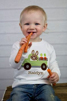 Boys Monogrammed Easter Shirt Bunny Truck by KalamityKids on Etsy, $24.00