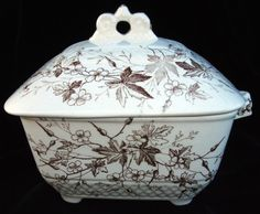 Antique Butter Pat Square Covered Dish, Brown Transfer Maple Leaf Excellent picclick.com
