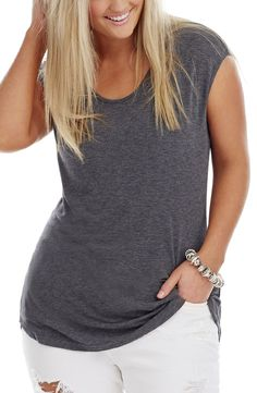 This cap sleeve Top has a back panel Detail and a shaped hemline. Cap Sleeve Top, Cap Sleeves, Plus Size Dresses, Knitted Fabric, Plus Size Fashion, Hemline, Diva, T Shirts For Women, Detail