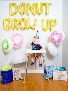 "Throwing a cheap, easy, darling ""Donut Grow Up"" 1st birthday party. This makes is so easy to fake like you're a crazy Pinterest-worthy party thrower with minimal skills or effort!"