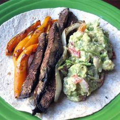 Fill up on summer flavor without filling out! Portabello mushroom and pepper fajitas