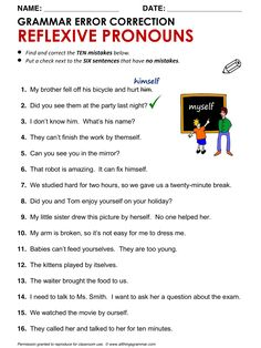 English Grammar Error Correction: Reflexive Pronouns http://www.allthingsgrammar.com/reflexive-pronouns.html
