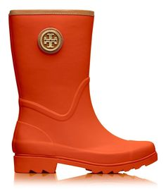Tory Burch Maureen Rain Boot Rubber Poppy Orange Red Size 6 >>> Read more  at the image link.
