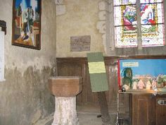 """Baptismal font in Saint Aubin Church in Tourouvre, France. From the entry """"Tourouvre"""" — Wikipédia. My ancestor was baptized here in 1626."""