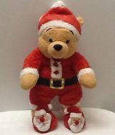 "DISNEY Christmas Holiday Santa Red Pajamas POOH 14"" Plush MINT! FREE SHIP!"