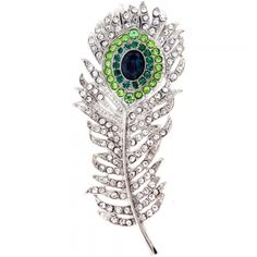 Chrome Peacock Feather Crystal Pin Brooch