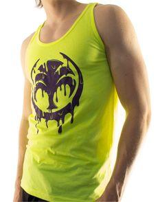 "Men's hyper yellow ""melting"" tank top by Skinnybuddha clothing company. $22.95  Www.skinnybuddha.com"