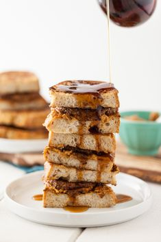 Vegan Sausage French Toast Breakfast Sandwich - use gf flour/bread, soy free soy sauce/miso, and organic molasses