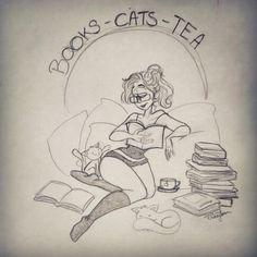 Books - cats - tea
