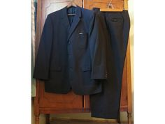 1950s Hart Schaffner & Marx - Men's Black Stripe Suit sz42, Drop loop, 34 waist cuff pant by dandelionvintage