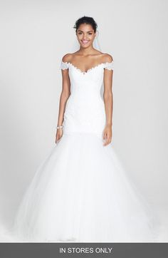 gorgeous off the shoulder silk lace gown #wedding