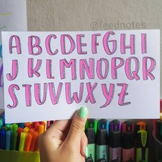 Journal Fonts, Bullet Journal School, Bullet Journal Notebook, Bullet Journal Ideas Pages, Bullet Journal Inspiration, Hand Lettering Alphabet, Calligraphy Letters, Writing Fonts, Stabilo Boss