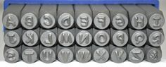 """Each set includes A-Z and the """"&"""" symbol.  These professional quality metal stamps are manufactured to the highest standard for durability and alignment. Letter stamps are precision-cut from carbo"""