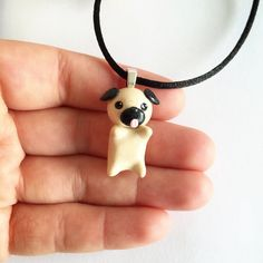 Kawaii Pug Pup Pendant Necklace, Polymer Clay Kawaii
