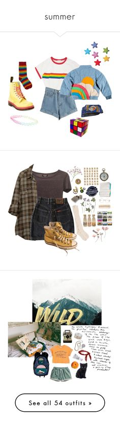 """summer"" by marinpollock ❤ liked on Polyvore featuring WithChic, Dr. Martens, Retrò, With Love From CA, art, Raven Denim, H&M, too cool for school, Miss Selfridge and Kusmi Tea"