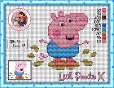 . Peppa E George, George Pig, Cross Stitch Designs, Cross Stitch Patterns, Peppa Pig Family, Stitch Character, Stitch Cartoon, Hama Beads Patterns, Cross Stitch Cards