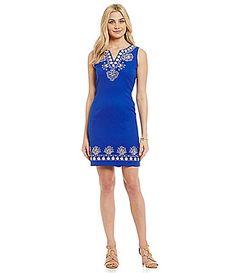 Katherine Kelly Embroidered Jacquard Dress #Dillards poly/spandex cobalt/beige sz2 62.65
