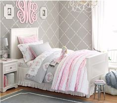 girls soft gray and pastel pink bedding