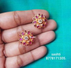 Pure silver jewellery with gold polish . Beautiful silver ear studs with gold polish.whats app 91 24 November 2018 Pure silver jewellery with gold polish . Beautiful silver ear studs with gold polish.whats app 91 24 November 2018 Gold Jewelry Simple, 18k Gold Jewelry, Gold Jewellery Design, Nose Jewelry, Gold Bangles, Glass Jewelry, Pearl Jewelry, Bridal Jewelry, Nose Earrings