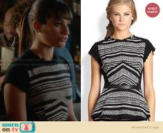 Rachel's black striped tweed top on Glee. Outfit Details: http://wornontv.net/28005 #Glee #fashion