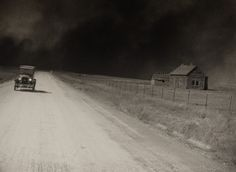 """out running the duster 1926; for a good read on the Dust Bowl, read """"The Worst Hard Time"""" by Tim Egan."""