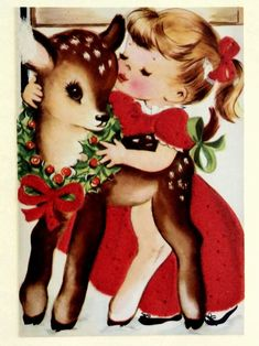 Sweet Vintage Christmas Card of Girl Kissing Baby Deer Vintage Christmas Images, Old Fashioned Christmas, Christmas Deer, Retro Christmas, Vintage Holiday, Christmas Pictures, Christmas Greetings, Winter Christmas, Christmas Crafts