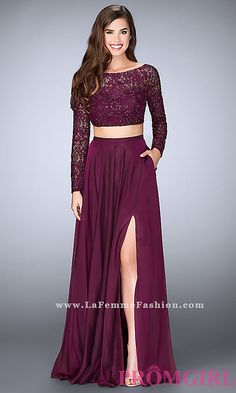 Long Chiffon Two Piece Prom Dress with Long Sleeves